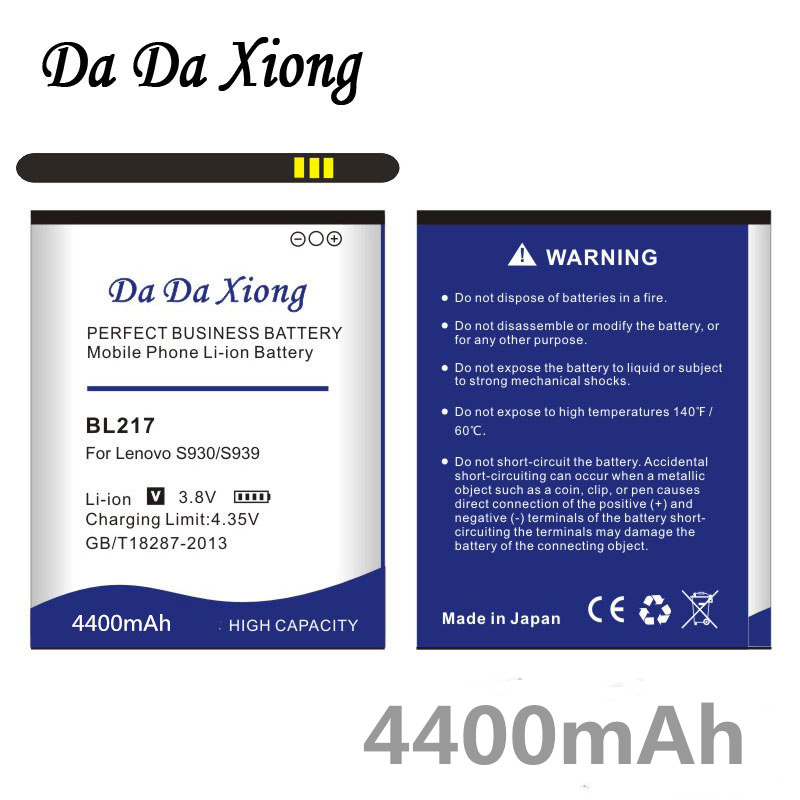 Da Da Xiong 4400mAh BL 217 BL217 <font><b>Battery</b></font> for <font><b>Lenovo</b></font> <font><b>S930</b></font> S939 S938t <font><b>battery</b></font> image