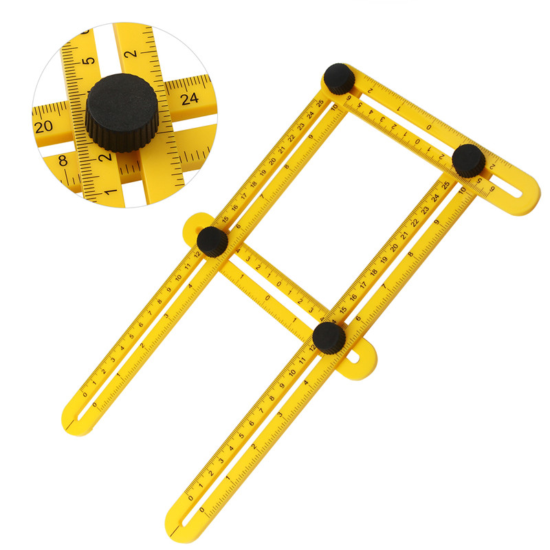 Professional Template Tool Angle Measuring Protractor Multi-Angle Foldable 4 Folding Ruler Builders Craftsmen Engineers Layout