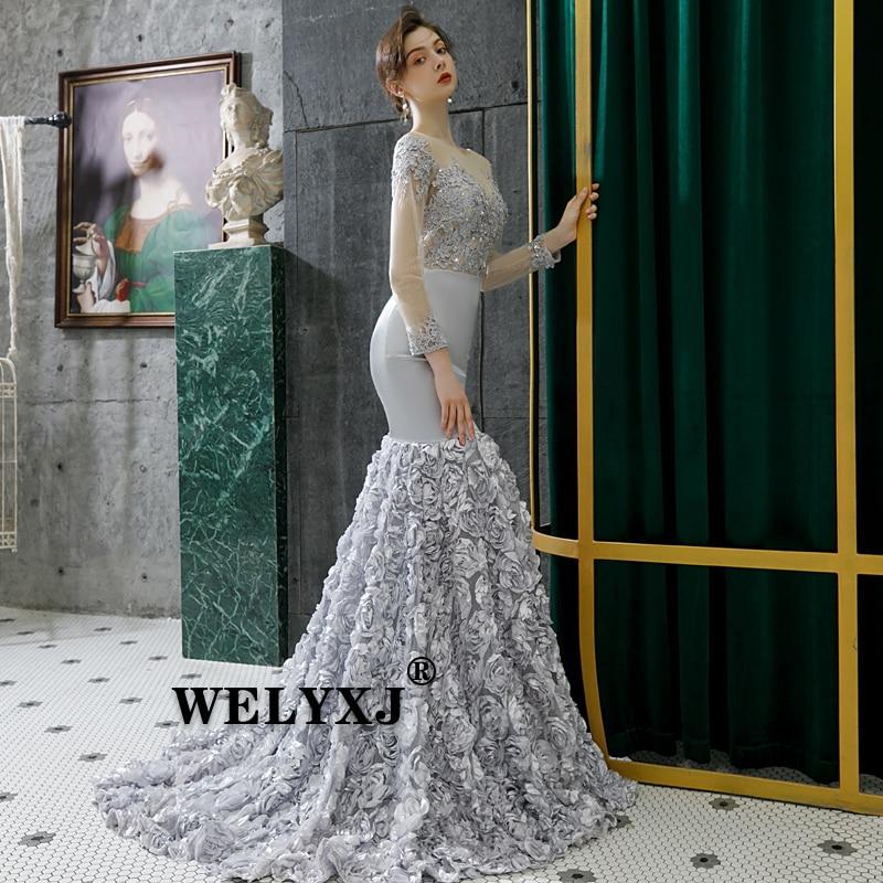 Silver Grey Sexy Long Sleeve Flower Dress Long Evening Dresses Bride Banquet Elegant Floor-length Party Prom Dress