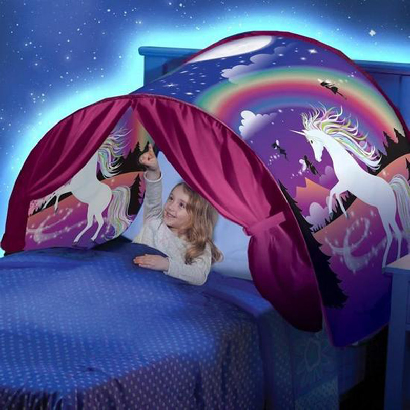 Dream Tents - Hot Kids Pop Up Bed Tent, Christmas Gift for + 20pcs Star LED String Lights #