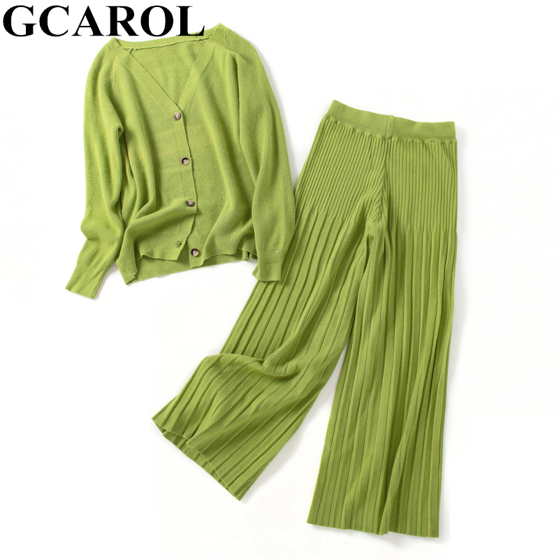 GCAROL New Women's Sets V Neck Cardigan And Wide Leg Pants 2 Pcs Set Knit Top Elastic Waist Pants Leisure Fall Winter Outfits