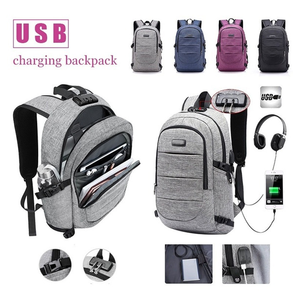 17.3 Inch Backpack Bag Laptop Notebook Mochila Large Capacity USB Port Male Waterproof Back Pack School Backpack Anti Theft