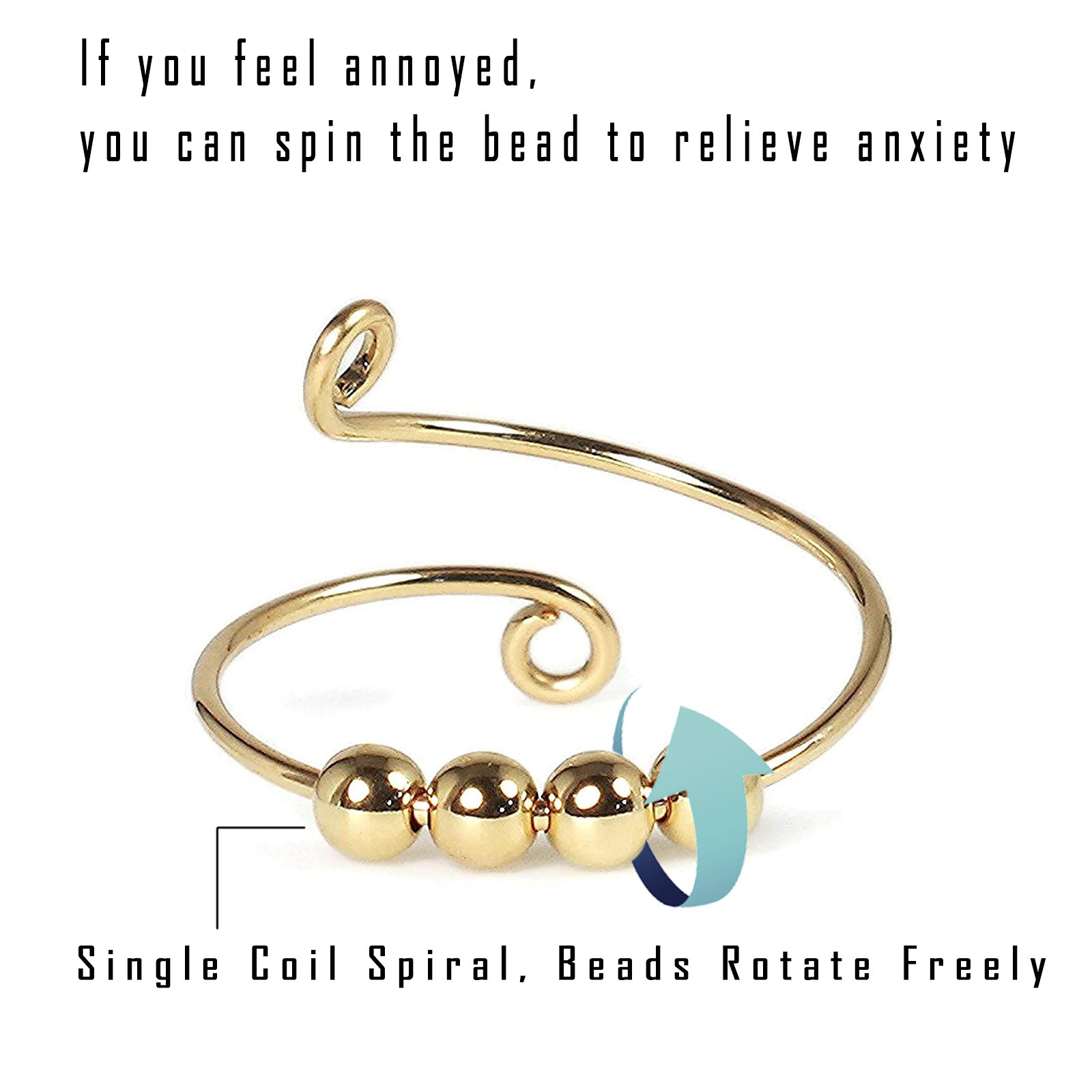 Toy Ring-Beads Fidget-Ring Freely Stress Spiral-Anxiety Rotate Reliever Fingertip Knitting img2