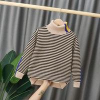Baby jungen Strickjacke pullover 4-13 jahre herbst und winter Hohe kragen horizontale streifen stricken outwear Mode Koreanische tops