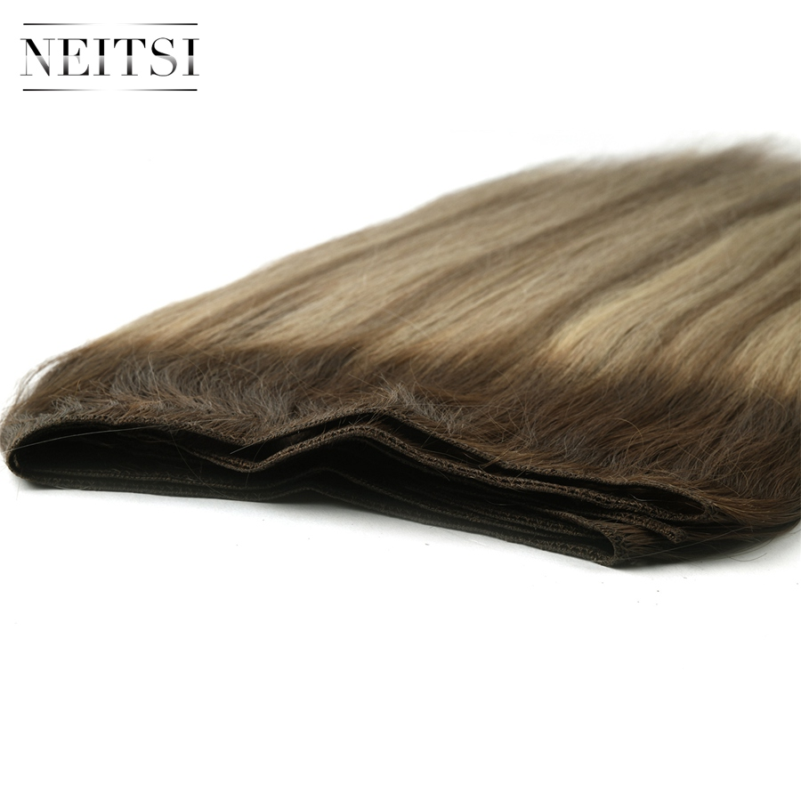 """Neitsi Straight Double Drawn Remy Human Hair Weave Extensions Balayage 20"""" 50cm 100g/pc Ombre Natural Hair Weft Bundles"""