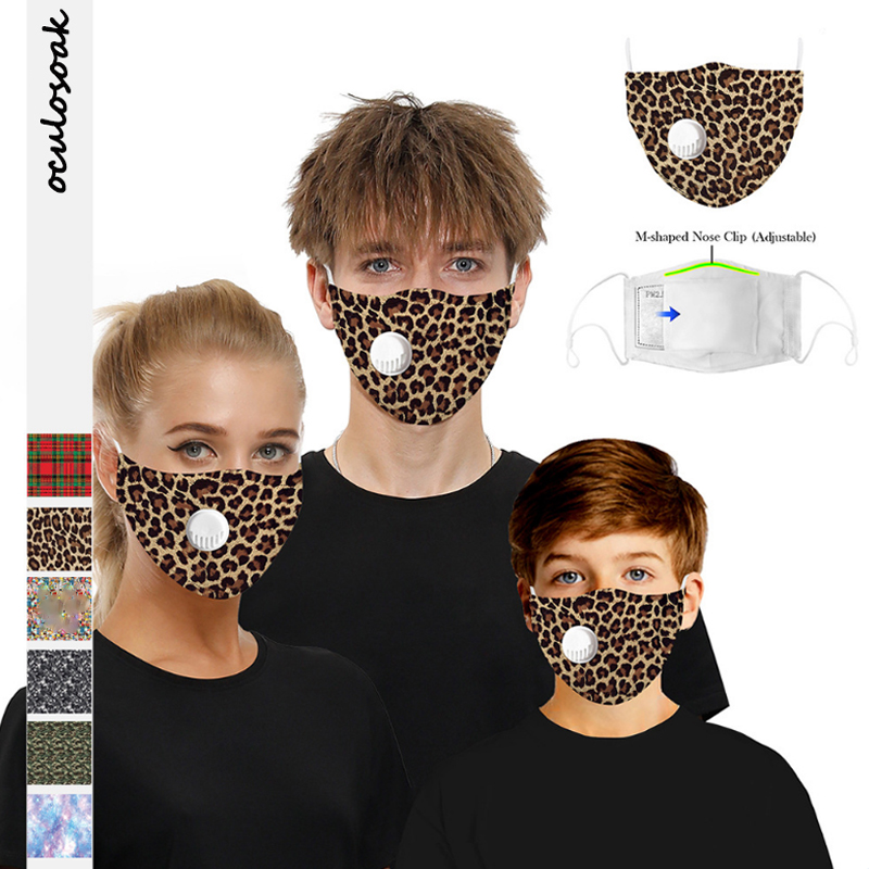 Leopard Digital Printing Outdoor Sports Dustproof Adult Children Pluggable Filter Chip