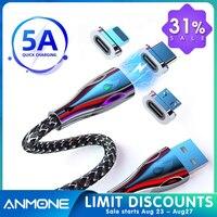 Zink-legierung Typ C Magnetische Kabel Micro USB Magnet Telefon Kabel Zink-legierung 5A Schnelle Lade Draht für Handy 1M/2M
