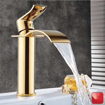 Tuqiu Basin Faucet Gold  Waterfall Faucet Brass Bathroom Faucet Bathroom Basin Faucet Mixer Tap Hot and Cold Sink faucet single handle sink bathroom basin faucet cold hot mixer tap kitchen faucet waterfall for bathroom kitchen faucet