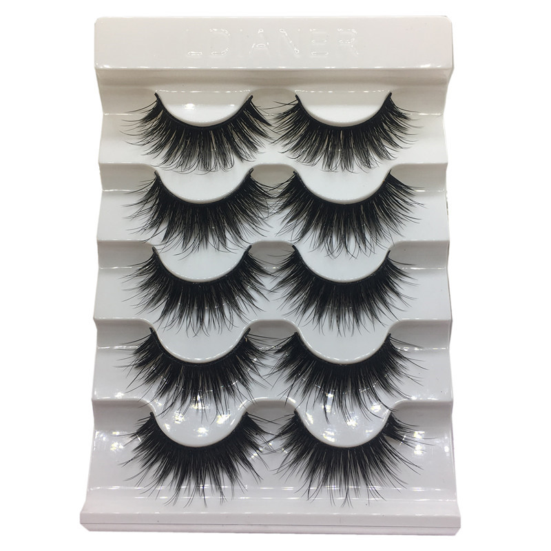 1/ 5 Pairs Natural Long False Eyelashes 3D Thick Cross Eye Lashes Eyelash Extension Fake Eyelashes Hand Made Makeup