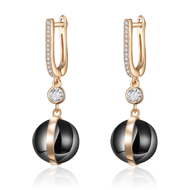 Ball Shape black Ceramic Drop Earrings for Women Gold Zirconia Gem Stone CZ Hanging Long Earrings Girls Jewelry(China)