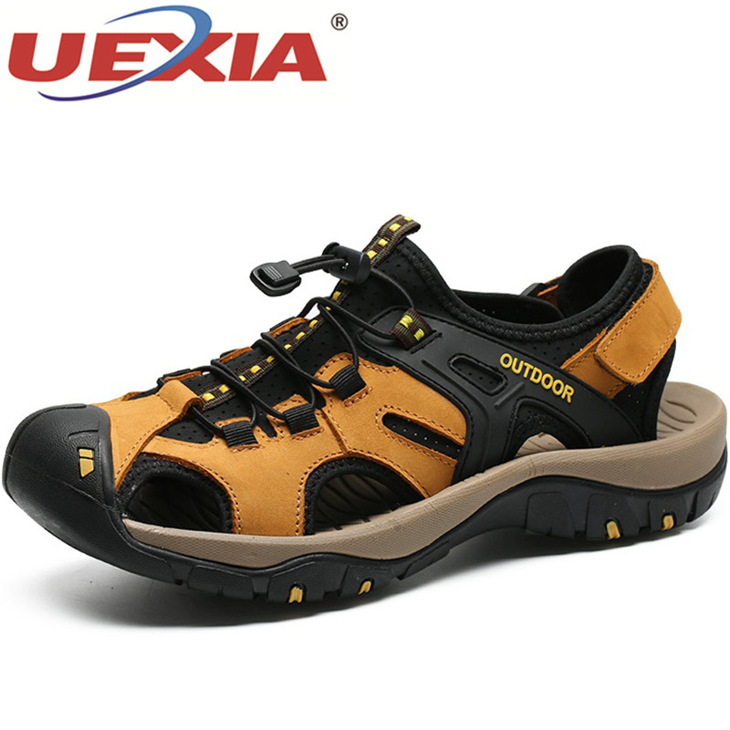 UEXIA Fashion Outdoor Summer Leather Casual Shoe Man Hook & Loop Roman Style Beach Sandals Brand Summer Sneakers Plus Size 38-48