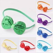 2019 New Childrens Hair Band Sequin Bow Headband Children Multi-Color Bright Party Decoration Headwear