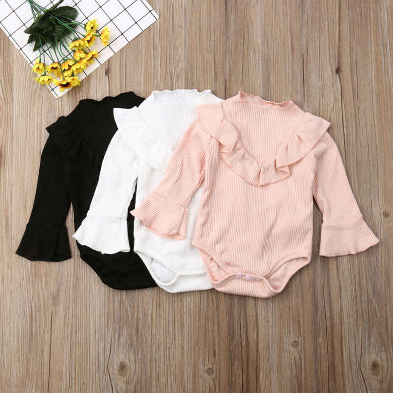 2019 Baby Spring Autumn Clothing Newborn Baby Boy Girl Ribbed Jumpsuit Bodysuit Flare Long Sleeve Clothes Solid Outfits 0-18M
