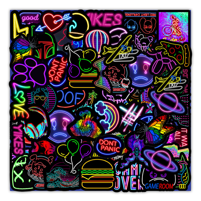 10/30/50PCS Cartoon Neon Light Graffiti Stickers Car Guitar Motorcycle Luggage Suitcase DIY Classic Toy Decal Sticker for Kid 2