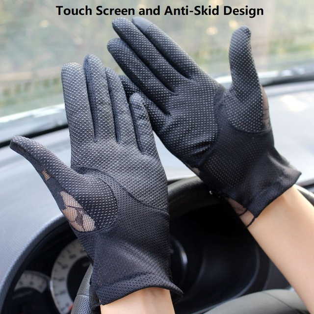 Fashion Sexy Lace Touch Screen Gloves Summer Sunscreen Ladies Anti-UV Driving Anti-Skid Cycling Lace Lotus Leaf Gloves 5