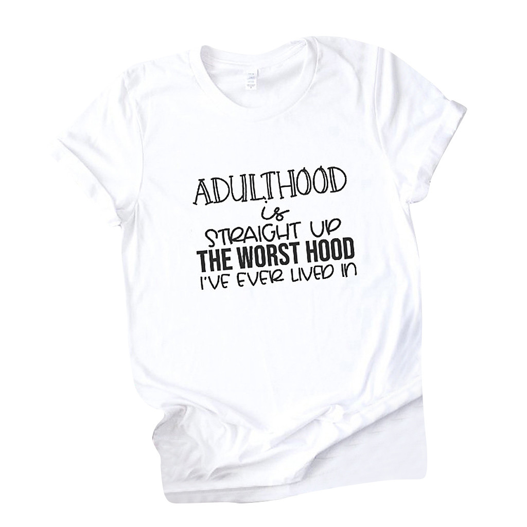 Women T-shirts New 2020 Summer Simple Letter Print Fashion Loose T-shirt Girls Student Streetwear Casual Lady Tops Tees New #P15