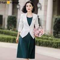 Stand Collar Long Sleeve Dress Suits Commuter Professional Wear Long Sleeve Short Blazer + Sleeveless Casual Dress Two Piece Set