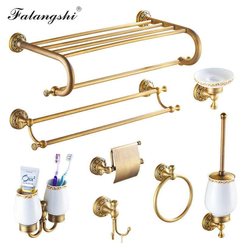 Miedź mosiądz łazienka sprzętu zestaw szczoteczka do zębów uchwyt na papier toaletowy papier uchwyt na papier wieszak na ręczniki mydelniczka wyroby sanitarne do łazienki WB8802