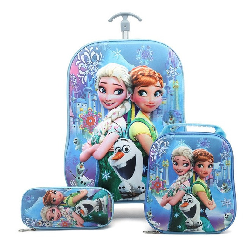 2019 New Children Backpack Children's School Backpack With Wheel Trolley Luggage Boys Girls School Backpack Children's Gift Bag