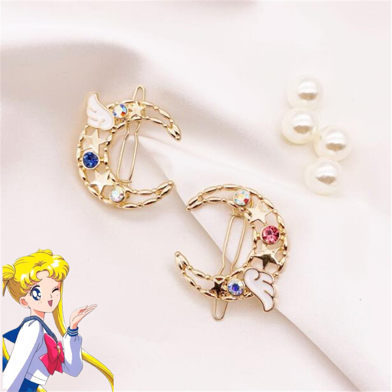 Japan Anime Sailor Moon Hair Pin Cosplay Costumes Accessories Girl Star Moon Cartoon Cute Bobby Pin Fancy Gift