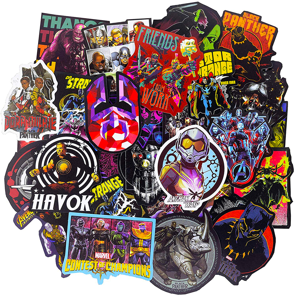 108PCS Mixed Marvel Hero Avengers Stickers Car Motorcycle Travel Luggage Phone Guitar Laptop Waterproof Joke Sticker Classic Toy
