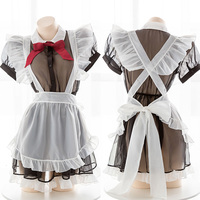 Lovely Soft Girl perspective Sexy Maid Dress Set Black White Women's Vintage Transparent Bow Uniform Apron Lingerie Nightdress