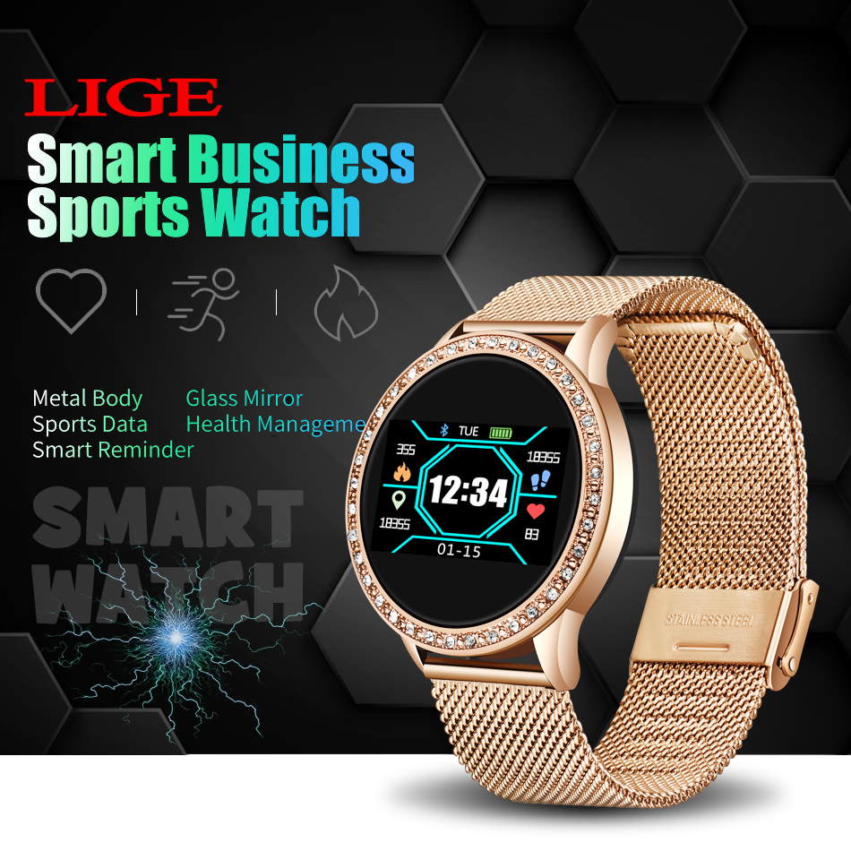 H8c6bb63f2392473794ce032528fe68e6h LIGE 2020 New Smart Watch Women Men Heart Rate Blood Pressure Sport Multi-function Watch fitness tracker Fashion smartwatch+Box