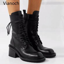 Купить с кэшбэком 2020 Fashion New Women Motorcycle Boots High Heels Lace Up Winter Warm Shoes High Heels Platform Pumps Woman wo19085