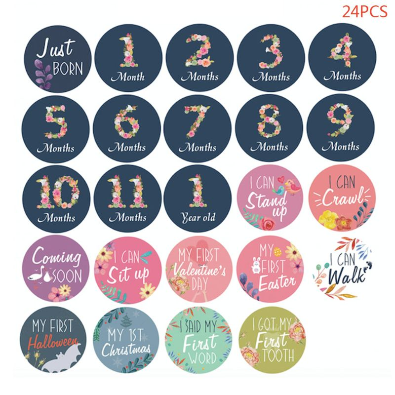 24 Pcs/set Cute Baby Monthly Milestone Stickers Birth Floral Pattern Sticker
