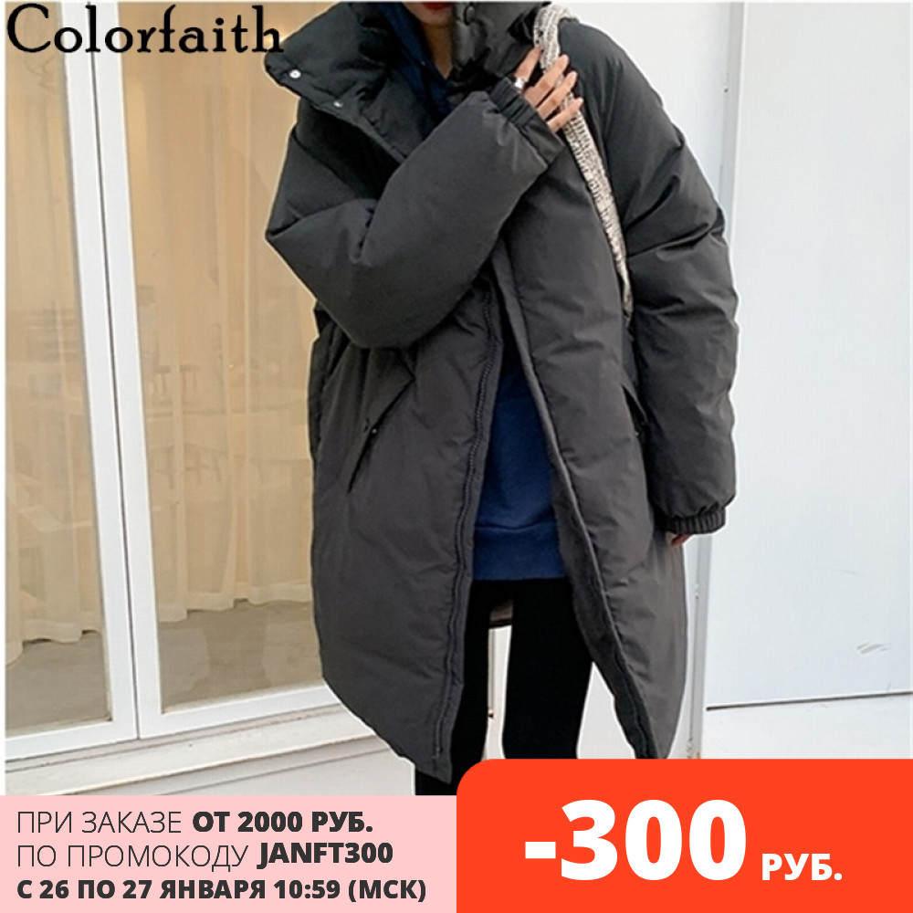 Long Coat Parkas Pockets-Stand Women Jacket Spring Oversize Puffer Warm Colorfaith Winter