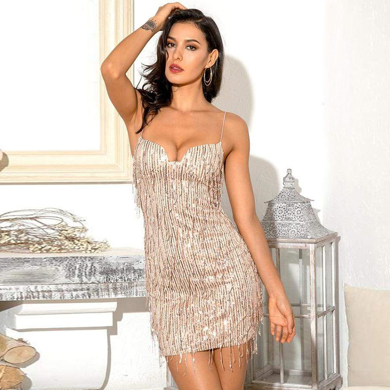 BacklakeGirls Women's Glam Slim Sequins Bodycon Party Dress Womens Glitter Sexy Backless Party Dress Club Wears