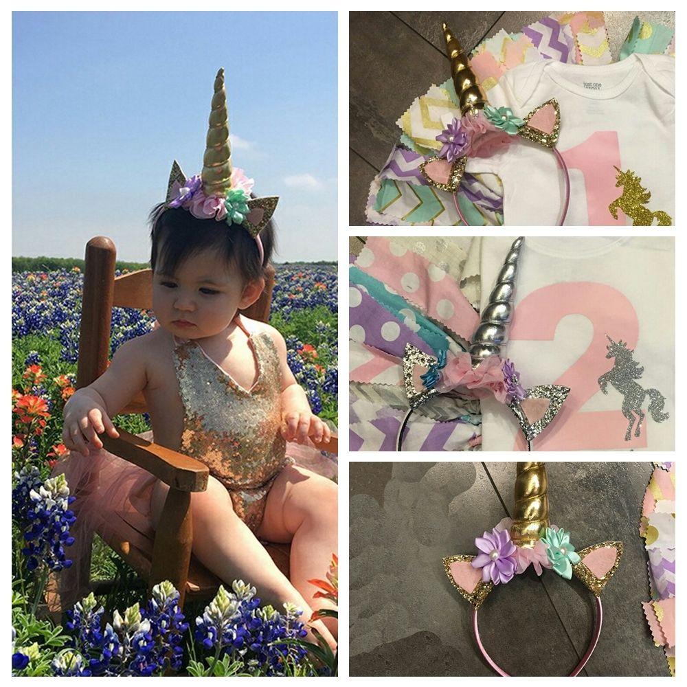 Нарядное платье; повязка на голову с рогом; Детские вечерние украшения в виде ушек; блестящие красивые подарки к празднику; Косплей