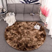 Домашний декор Круглый пушистый длинный плюшевый коврик ковер