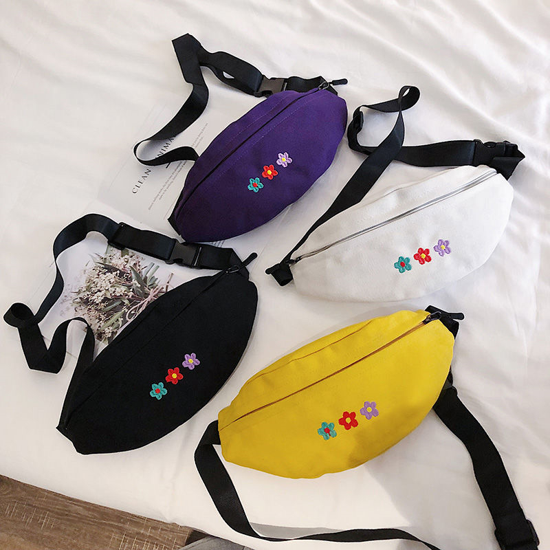 NiceMix Streetwear Women Waist Bag All Matching Ins Fashion Canvas Small Chest Bag New Tide Korean Style Of Casual Crossbody Bag