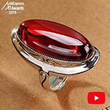 6.18 ขาย S925 Fine Antique Shop ทับทิมรูปไข่ขนาดใหญ่แหวนผู้หญิง Handmade VINTAGE Carnelian ธรรมชาติย้อนยุคทับทิมสีแดง Jasper Agate