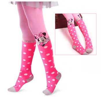 Disney Mickey Mouse Girl Pantyhose Cotton Tights For Girls PINK Knitted Stockings  For Babys Infant Tights 2-9Y Baby Kids Tights fashion brand infant baby girls tights toddler kids tights pantyhose autumn winter baby girl stockings girl pants