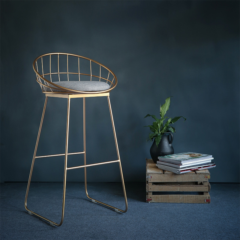 Simple Bar Stool Wrought Iron  Chair    Tabouret De  Gold High  Modern Dining  Nordic Golden Furniture