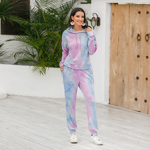 Tie Dye Lounge Sports Wear 2 Piece Outfits Tracksuit Fitness Pink Two Piece Pants And Top