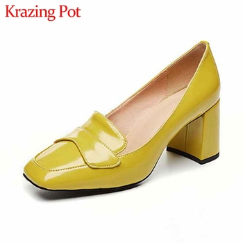 Krazing Pot genuine leather fashion office lady square toe high heels slip on sweet dating solid simple women basic pumps L22