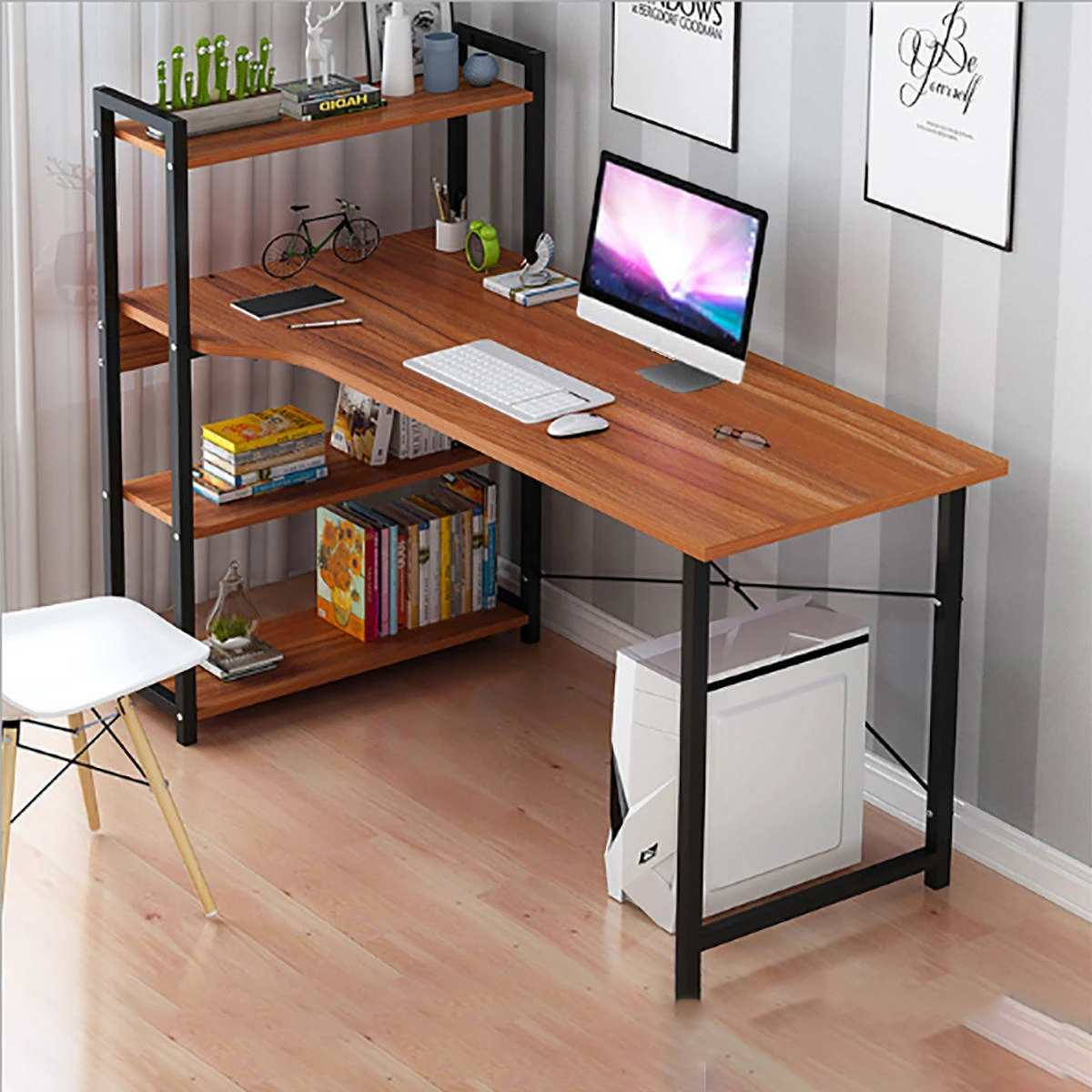 Laptop Desk With Shelves 57 Inch Corner Computer Desk With CPU Stand, Home Office Gaming Table Workstation Study Writing Desk