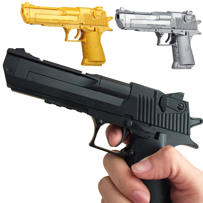 Children Mini 1:10 Toy Gun Soft Bullet Pistol Assembled Building Block Bricks Safety Plastic 3D Model Gun Toys For Boys Can Fire