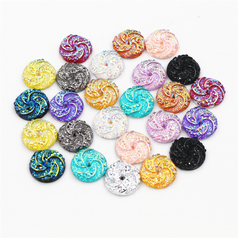 New Fashion 40pcs 12mm Mix Colors Windmill Style Flat Back Resin Cabochon For Bracelet Earrings Accessories