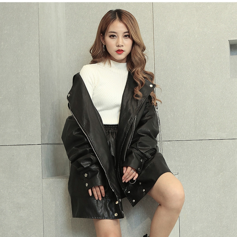 SWYIVY Women 39 s Faux Leather PU Jacket Loose Leather Casual Motorcycle Long Paragraph Plus Size Oversized Leather Jacket Female in Leather Jackets from Women 39 s Clothing