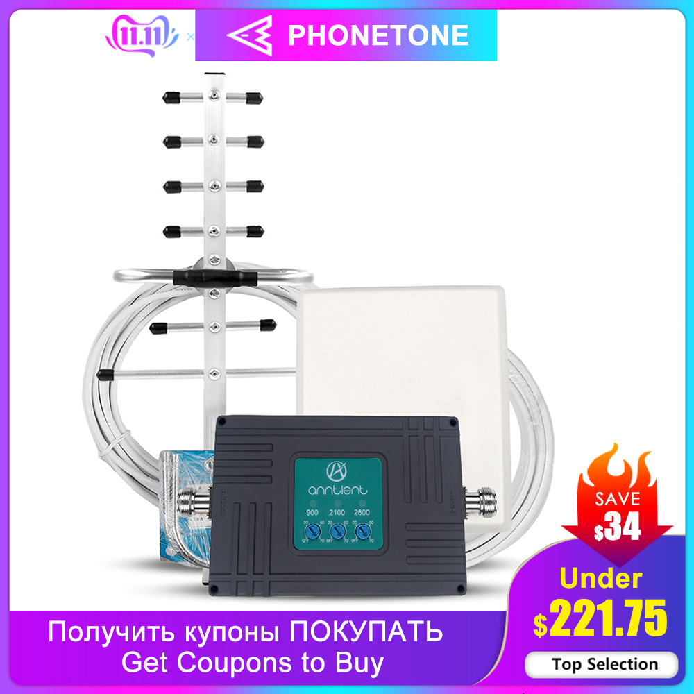 Mobile Signal Amplifier GSM Repeater 2G 3G 4G LTE 900/2100/2600MHz Cell Phone Signal Booster Repeater 70dB Band 7/8/1 & Antenna