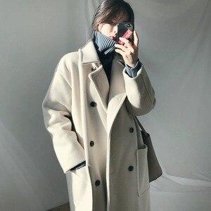 Women's wool blended jacket 2021 autumn Korean loose double-breasted wool coat women's winter long coat jacket