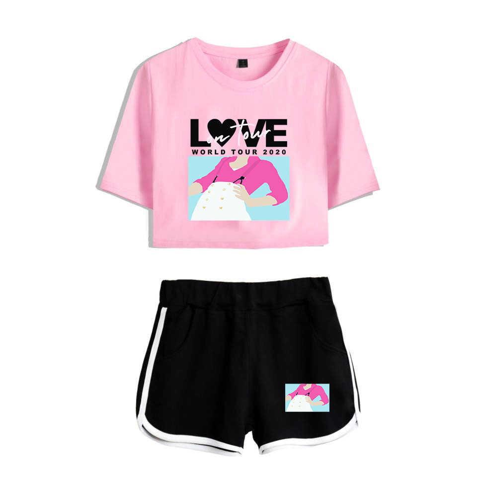 Drop Ship Harry Styles Fine Line Design Two Piece Set Women Sexy Sets T Shirt Short TShirt Midriff-baring Tops Tee Girl Clothes