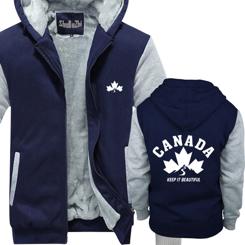 thick fleece CANADA KEEP IT BEAUTIFUL shubuzhi men winter padded zipper sweatshirt fashion print hoodies cool hip-hop hoody