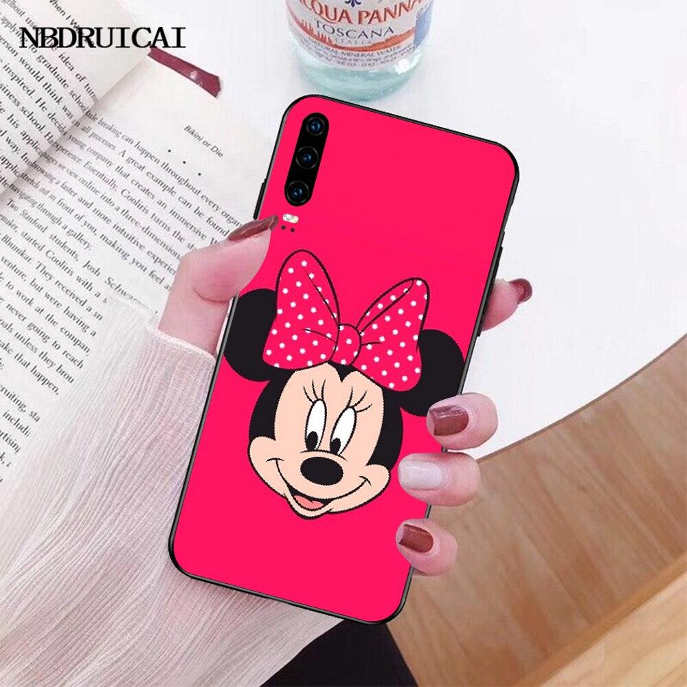 Nbdrucai 핑크 미니 마우스 여성용 DIY 럭셔리 전화 케이스 화웨이 P30 P20 P10 P9 P8 메이트 20 10 프로 라이트