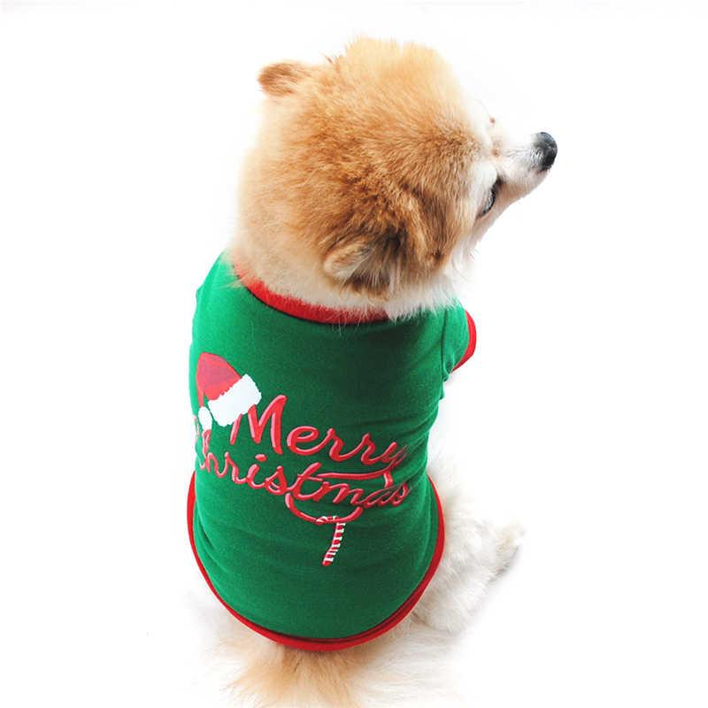 Kerst Hoed Hond Kleding Katoenen T-shirt Puppy Kostuum Franse Bulldog Hond Sweatshirt Grote Hond Hond Kleding Puppy Kleren