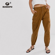 ROHOPO Woman Cotton Overrall Khaki Autumn Pencil Cargo Pant Washed Ladies Pockets Trousers #8703